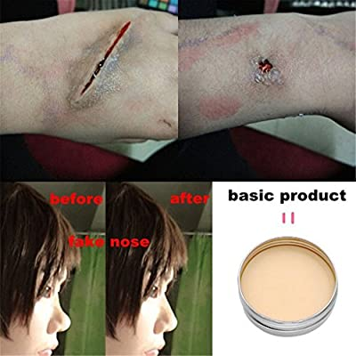CCbeauty 3PC Set Special Effects Stage Makeup Fake Wound Scars Wax + Oil Painting(flash color) + Spatula Tool