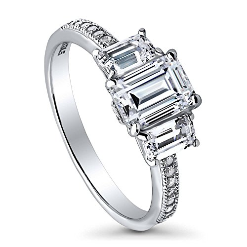 BERRICLE Rhodium Plated Sterling Silver Emerald Cut Cubic Zirconia CZ 3-Stone Anniversary Promise Engagement Ring 1.7 CTW Size 5 (Emerald 3mm Accented Ring Setting)