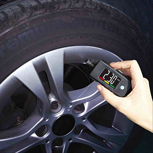 2-in-1 Mini Electronic Digital Display Tire Gauge Keychain Automobile High Precision Tread Depth Tire Pressure Gauge (Keychain Tire Gauge Digital)