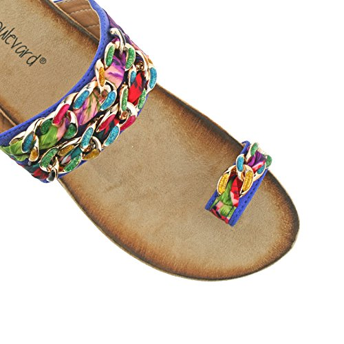 LADIES BOULEVARD TOE LOOP MULTI COLOURED FABRIC LINK SLIP ON SANDALS L9527C KD-UK 9 (EU 42)