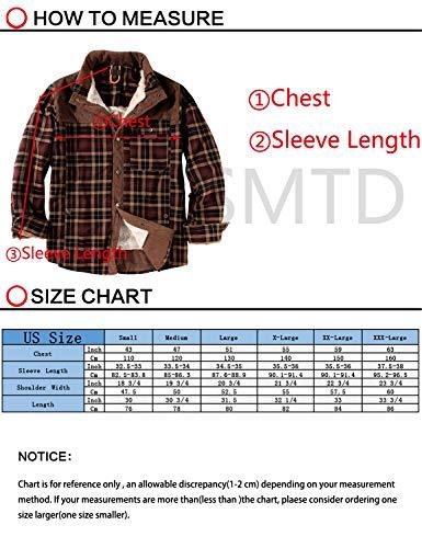 EUSMTD Homme Velours Casual Coton Haut Manches Longues à Carreaux Flanelle Chaud Chemise Épaissir Veste