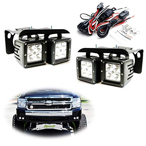 2500 Hd Fog Light - iJDMTOY LED Pod Light Fog Lamp Kit For 2007-14 Chevy Silverado 1500 2500 3500 HD, Includes (4) 20W High Power CREE LED Cubes, Foglight Location Mounting Brackets & On/Off Switch Wiring Kit