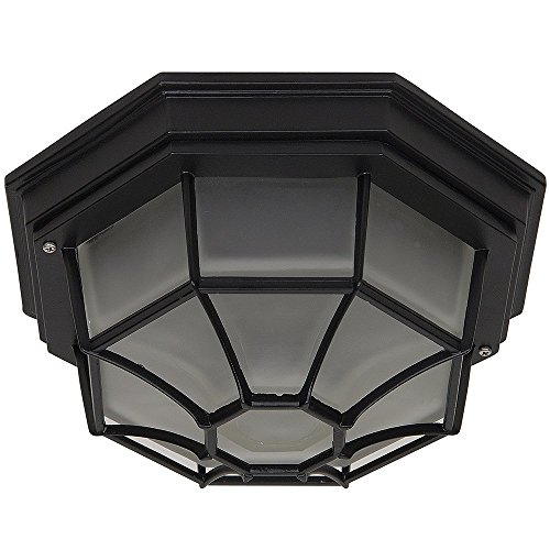 Transitional Frosted Glass (Y Decor EL3902LIORB Modern, Transitional, Traditional 2 Light Exterior Outdoor Flush Mount Light Fixture Oil Rubbed Bronze with Frosted Glass, , Oil Rubbed Bronze, Brown)