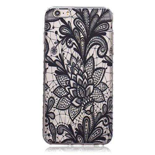 Meet de pour Apple iPhone 6 Plus / iphone 6S Plus Ultra Slim Flexible Transparent Soft Case / Housse / Portefeuille / Cover Étui / Housse étui - Lotus Noir