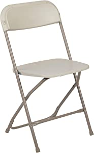 Flash Furniture Hercules Series 800-Pound Premium Plastic Folding Chair, Beige