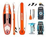 iROCKER Cruiser Inflatable Stand Up Paddle Board 10'6'' Long 33'' Wide 6'' Thick SUP Package | Orange - 2019