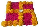 Anaya Industries Rangoli Artificial Flower & Wool Pompom Swastik Rangoli with tlite on canvas (30 cm x 30 cm x 5 cm, Pink & Yellow)
