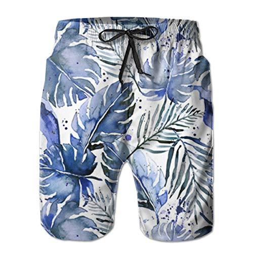 Tropical Palm in Indigo Mens Swim Trunks Beach Shorts with Mesh Lining Boardshort (Indigo Beach Palm)