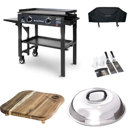 Blackstone 28 inch Outdoor Flat Top Gas Grill Griddle Station - 2-burner - Propane Fueled - Restaurant Grade - Professional Quality with Cover, Accessory Kit, Dome and Cutting Board (Grill Dome Gas)