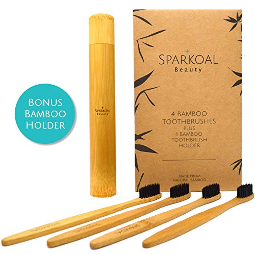 Bamboo Toothbrush with Charcoal Infused Extra Soft Bristles Set (4 Pack) and Bonus Bamboo Travel Toothbrush Holder – BPA Free Nylon Bristles – Best Organic, Natural, Biodegradable, Wooden Toothbrushes