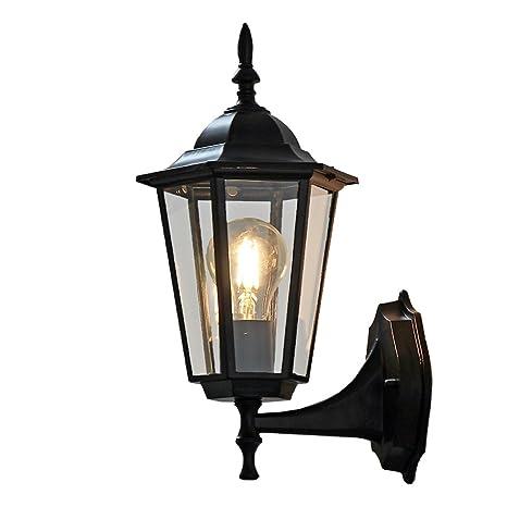 Zhma Outdoor Wall Lamp Retro Garden Porch Lights Black Hallway E27