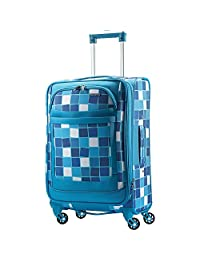American Tourister Ilite Max Softside Spinner 25, Light Blue Checks