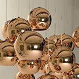IJ INJUICY Lighting Tom Dixon Rose Gold Glass Ball Hanging Lamp Edison Pendant Lights Zorbing E27 Socket Ceiling Lamps Single Head Pendant Light for KTV Dining Room Bar Hotel Corridor Restaurant Decor