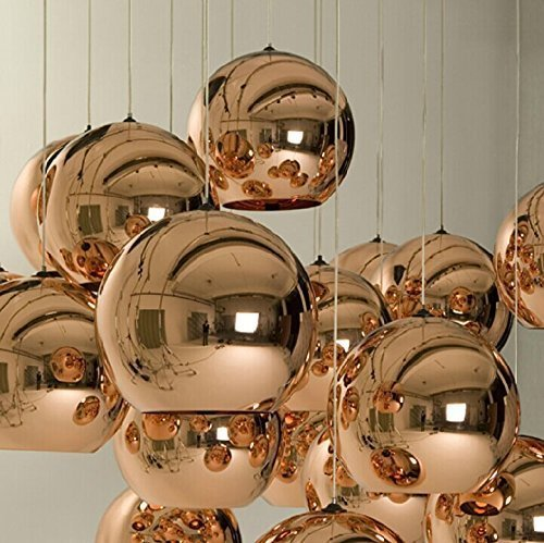IJ INJUICY Lighting Tom Dixon Rose Gold Glass Ball Hanging Lamp Edison Pendant Lights Zorbing E27 Socket Ceiling Lamps Single Head Pendant Light for KTV Dining Room Bar Hotel Corridor Restaurant Decor (Light Pendant Glass Rose)