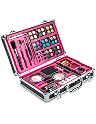 Vokai Makeup Kit Set - 32 Eye Shadows 6 Lip Glosses 2 Lip Gloss Wands 2 Lipsticks 1 Face Powder Duo 1 Blush Powder Duo 1 Mascara - Case with Carrying Handle