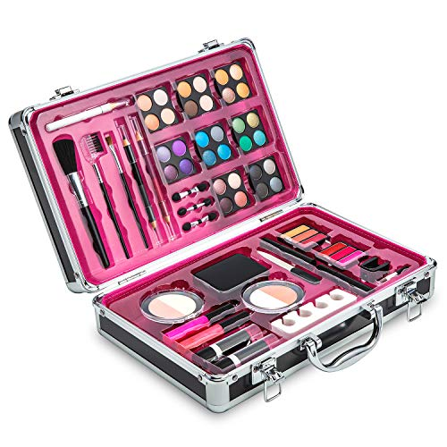 Vokai Makeup Kit Set - 32 Eye Shadows 6 Lip Glosses 2 Lip Gloss Wands 2 Lipsticks 1 Face Powder Duo 1 Blush Powder Duo 1 Mascara - Case with Carrying Handle ()