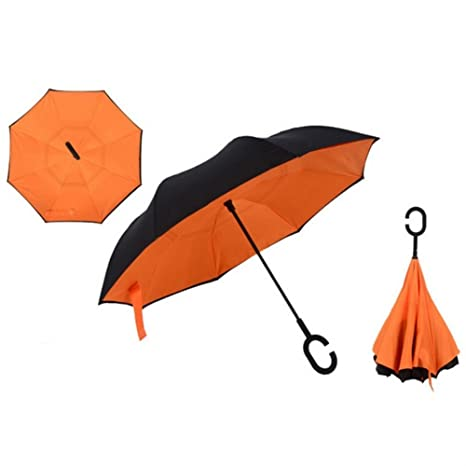 Windproof Uv protection Reverse Folding Double Layer Inverted Umbrella Travel Umbrella and Self Standing Inside Out