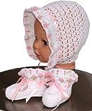 Crochet Newborn Bonnet and Booties Gift Set, Size: 0-3 M, Color: White