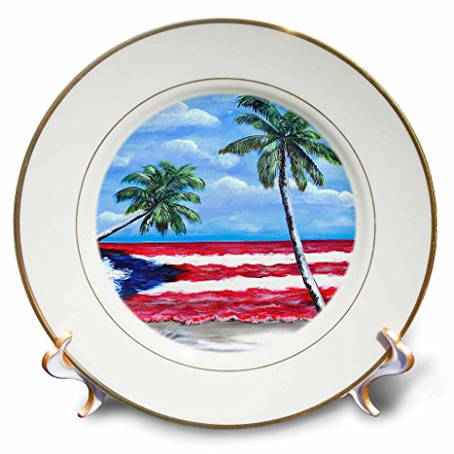 Melissa A. Torres Puerto Rican Art - Palm trees and Puerto Rican Flag - 8 inch Porcelain Plate (cp_186262_1) ()