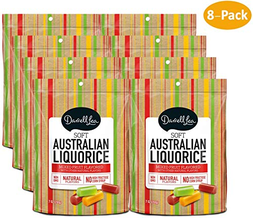 Soft Australian Mixed Fruit Licorice - Darrell Lea 7oz Bag - NON-GMO, NO HFCS, Vegetarian & Kosher - America's #1 Soft Eating Licorice Brand! (8-Pack)