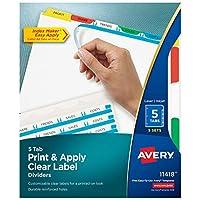 Avery Index Maker Separadores de etiquetas transparentes, tira de etiquetas de fácil aplicación, 5 lengüetas, multicolor, 5 juegos (11418)