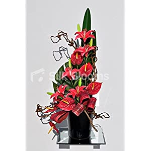 Beautiful Red Stargazer Lily and Anthurium Floral Table Arrangement 3