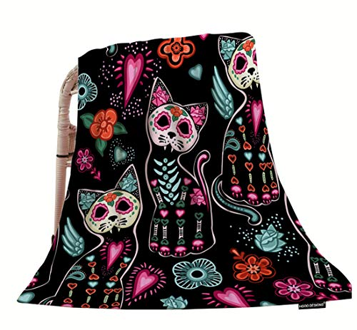HGOD DESIGNS Cat Throw Blanket,Day of The Dead Halloween Cats with Colorful Flowers Soft Warm Decorative Throw Blankets for Adults Kids Women Men Girls Boys,40