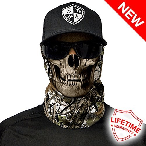 - SA Company Face Shield Protect Wind, Dirt and Bugs. Keep Warm. Worn as a Balaclava, Neck Gaiter, Head Band, Doo RAG For Hunting, Fishing Running, Boating Cycling and Salt Lovers. - Snow Camo Skull