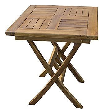 Trueshopping Table de Jardin en Teck Carré en Bois Dur: Amazon.fr ...