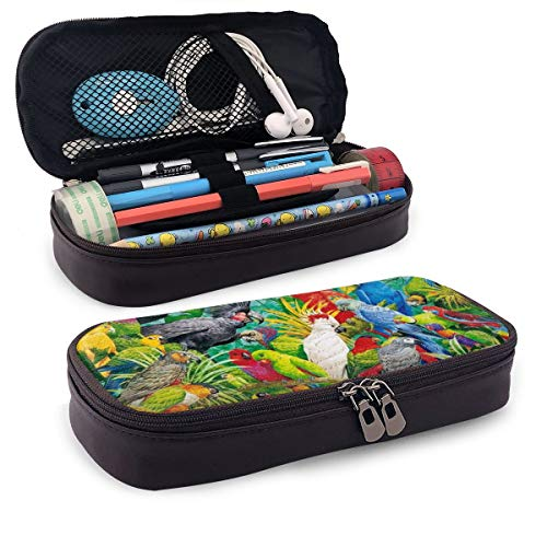 Karen Felix Pencil Case, Spring Color Parrots Paradise Pencil Pouch Pen Case Pencil Bag Durable Students Office College School Stationery with Double - Spring Paradise Box