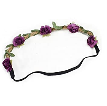 76b49f99b2d Amazon.com  Hippie Love Flower Garland Crown Festival Wedding Hair ...