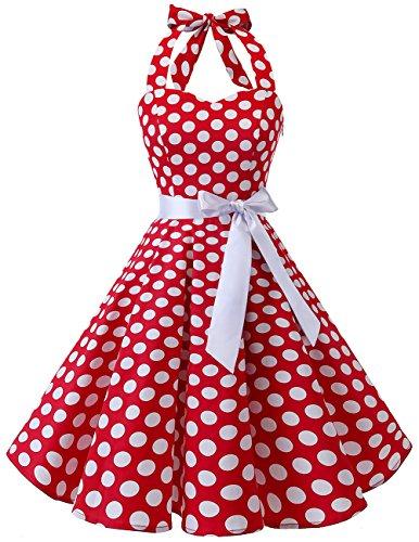 Bridesmay Women's 1950s Vintage Halter Retro Rockabilly Cocktail Swing Dress Red White Dot 3XL -