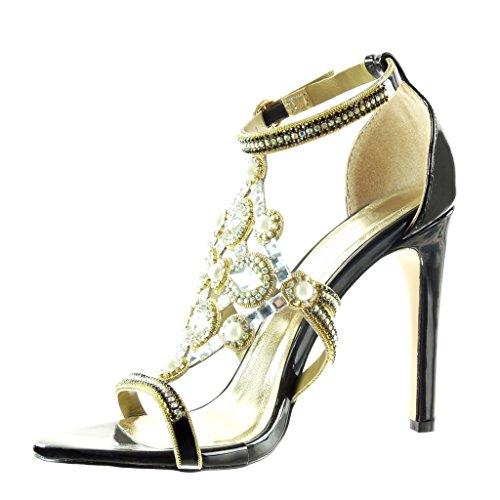 Angkorly Damen Schuhe Pumpe - Stiletto - Offen - Abend - Schmuck - Perle -  Strass ...
