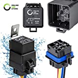 ONLINE LED STORE 40/30 Amp Waterproof Relay Switch Harness Set - 12V DC 5-Pin SPDT Automotive Relays 12 AWG Hot Wires