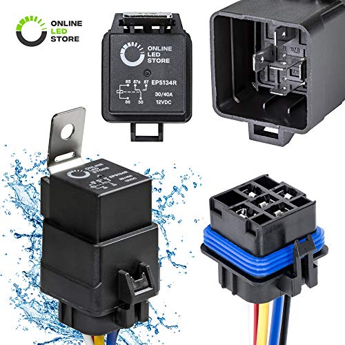 - ONLINE LED STORE 40/30 Amp Waterproof Relay Switch Harness Set - 12V DC 5-Pin SPDT Automotive Relays 12 AWG Hot Wires