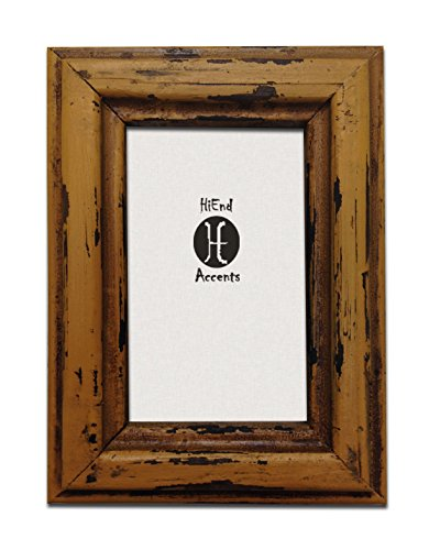 HiEnd Accents Painted Distressed Wood Frame, 4 by 6-Inch, Yellow