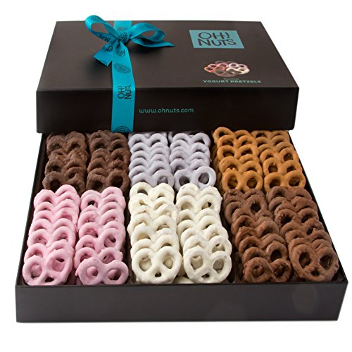 Oh! Nuts Chocolate Covered Pretzels Gift Basket, 6 Variety Assorted Flavored Set of Yogurt, Milk & Dark Gift Box, Send for Christmas Holiday Valentine's or Mother's Day a Sweet Treat for Men & Women (Treats Christmas Chocolate White)