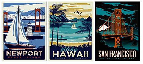 FUNHUA Hawaii San Francisco Landscape Prints Art Framed Port Scenery Sailboat and Lighthouse Canvas Art for Living Room Restaurant Bar Wall Decor 12x16inchx3pcs ()