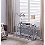 Chrome Finish / Black Glass Top Console Sofa Table with Abstract Designs