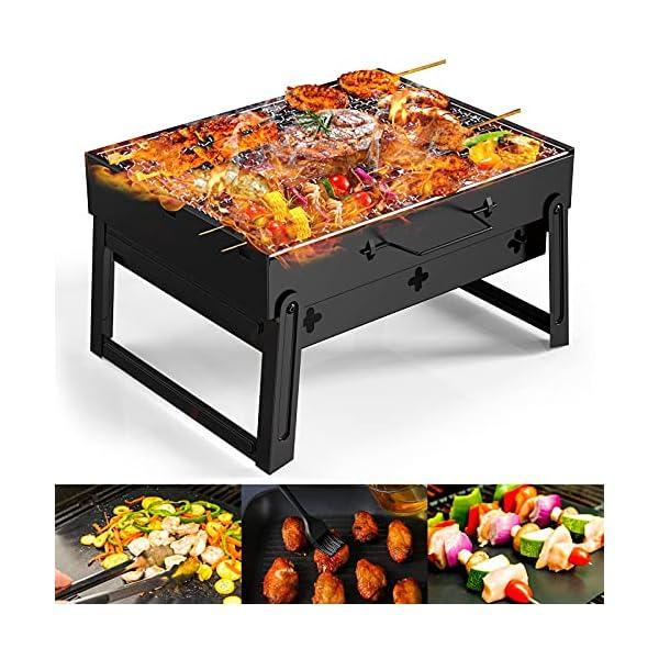 51gzM53VDtS BBQ Holzkohlegrill GolWof Faltbarer Grill Tragbarer Picknickgrill Campinggrill Klappgrill für 3-5 Personen für Picknick…
