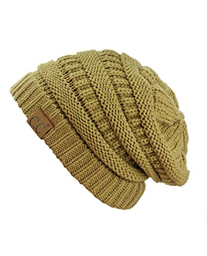 C.C Trendy Warm Chunky Soft Stretch Cable Knit Beanie Skully, Camel