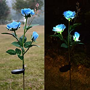 Outdoor Solar Rose LED Stake Lights, Homeleo Solar Powered Rose Flower Lights for Garden Back Yard Patio Decoration - Blue