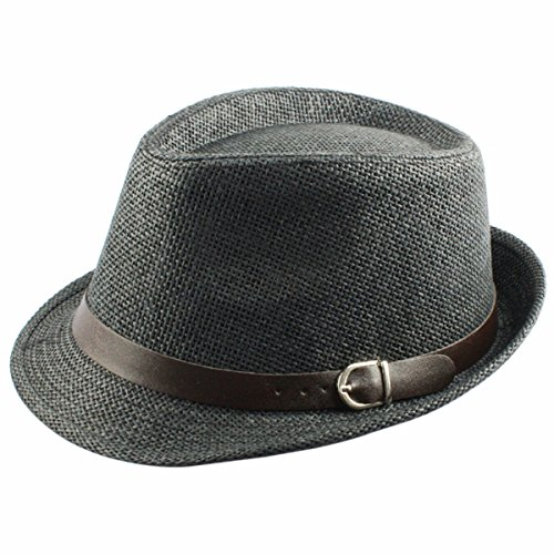 Samtree Fedora Hats for Women Men,Vintage Knitted Straw Trilby Hat(Black)
