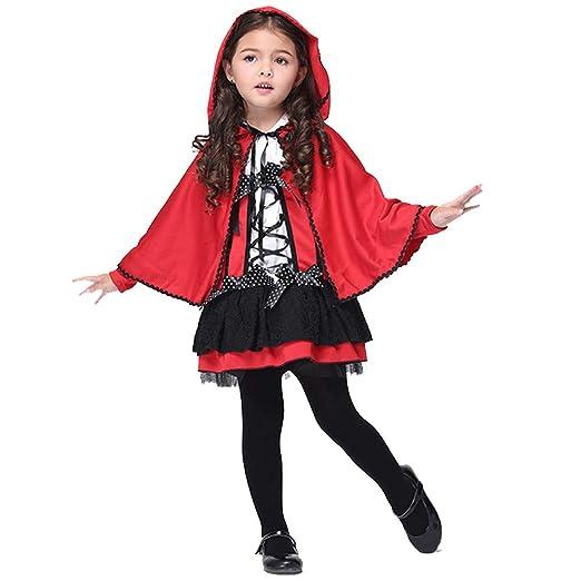 HSKS Falda de Halloween, Sombrero Rojo Capa Cosplay Disfraz de ...