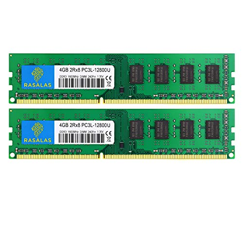 Rasalas DDR3 PC3-12800 RAM-geheugenmodules 12800 Udimm 2x4GB Groen