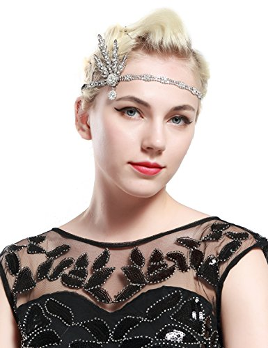 BABEYOND Art Deco 1920's Flapper Great Gatsby Inspired Leaf Medallion Pearl Headpiece Headband Silver
