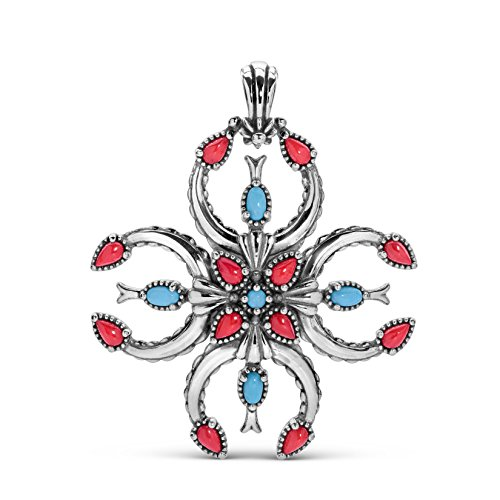 - American West Sterling Silver Turquoise & Red Coral Gemstone Naja Cross Pendant Enhancer