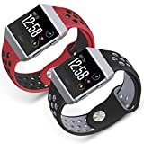 for Fitbit Ionic Bands, SKYLET 2 Pack Soft Silicone Breathable Replacement Wristband Accessories for Fitbit Ionic Smart Watch Bracelet (No Tracker)[Red-Black&Black-Gray, Small]