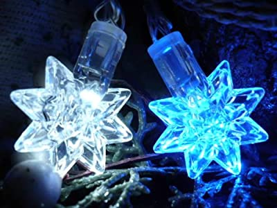 ORANGE TREE TRADE Blue & White Star LED String Lights; LED Christmas Lights; Party Lights