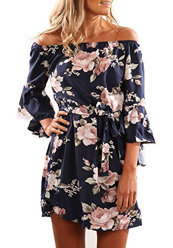 YOMISOY Womens Shoulder Floral Dresses